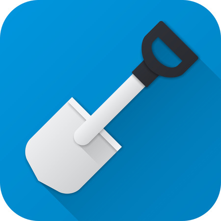 Vector illustration. Toy shovel in flat design with long shadow. Square shape icon in simple design. Illustration