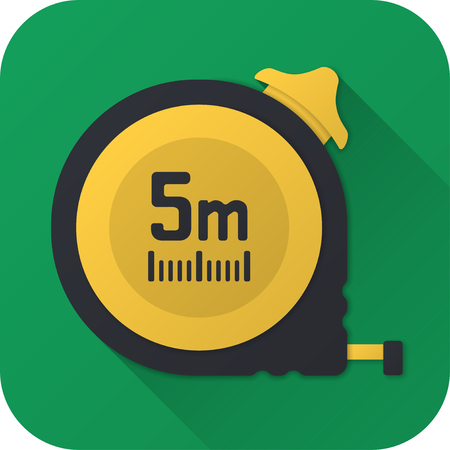 Vector illustration. Toy construction tape measure in flat design with long shadow. Square shape icon in simple design.
