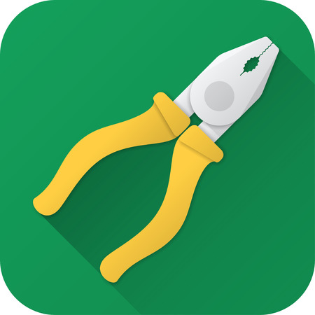 Vector illustration. Toy pliers in flat design with long shadow. Square shape icon in simple design.