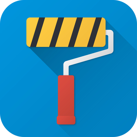 Vector illustration. Toy roller brush in flat design with long shadow. Square shape icon in simple design. Illustration