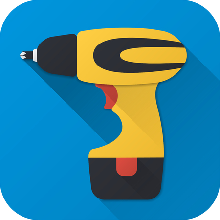 Vector illustration. Toy electric screwdriver in flat design with long shadow. Square shape icon in simple design.