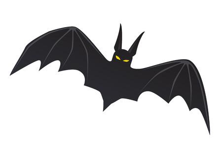 Vector illustration. Flying bat isolated on white background