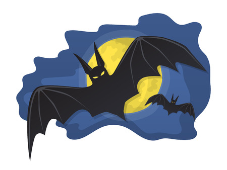 Vector illustration. The bats flying in the night sky with full moon isolated on white background
