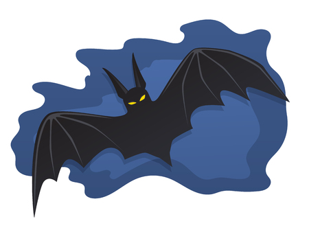 Vector illustration. Bat of a bat flying in the night sky isolated on white background
