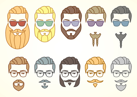 style goatee: Vector illustration. Set of hipster face with mustaches and beards