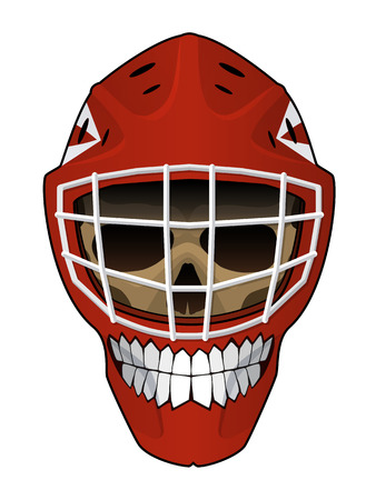 toothy smile: Vector illustration. Hockey helmet with a toothy smile and evil scull inside isolated on white background. Design element for your stickers, card, posters, emblems, web design