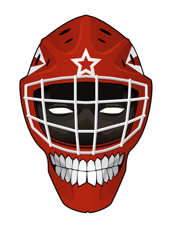 toothy smile: Vector illustration. Hockey helmet with a toothy smile and evil face inside isolated on white background. Design element for your stickers, card, posters, emblems, web design