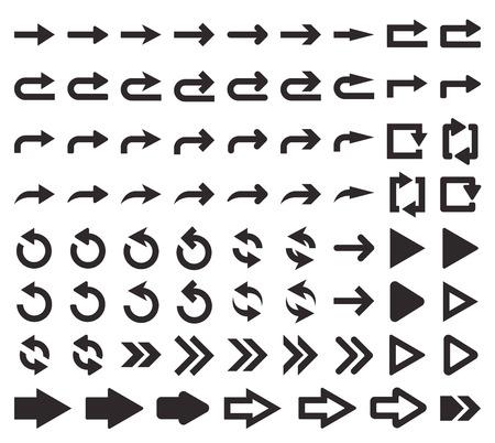 flechas direccion: Ilustración del vector. píxel perfecto. Gran conjunto de iconos de flecha. La dirección de la flecha. Elemento de diseño para su diseño web, interfaces de menú, aplicaciones.