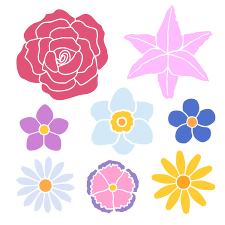 Vector illustration. Set of simple flowers silhouette. Design element for your stickers, card, posters, emblems, web design, icons. Template or pattern of flowers