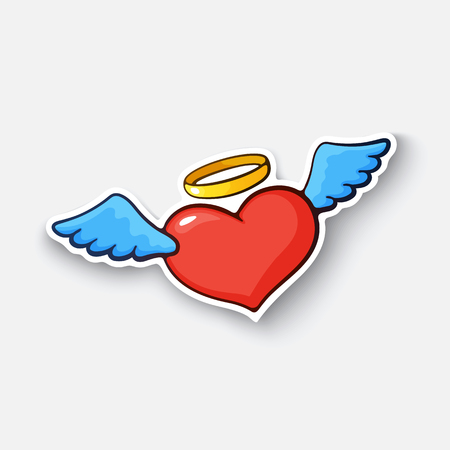 Cartoon sticker with angel heart Illustration