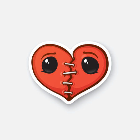 seams: Vector illustration. Broken heart with eyes and crack. Valentines Day symbol. Cartoon sticker in comic style with contour. Decoration for greeting cards, posters, patches, prints for clothes, emblems