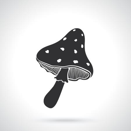 inedible: silhouette, pattern, amanita, fly agaric, mushroom, amanita muscaria, template, black, shadow, shape, icon, vector, Illustration