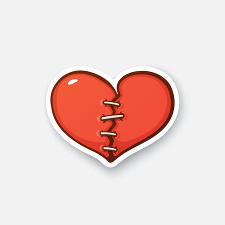 Ilustración del vector. corazón roto con crack. etiqueta de dibujos animados en estilo cómico con el contorno. Decoración para tarjetas de felicitación, carteles, grabados, parches para la ropa, emblemas