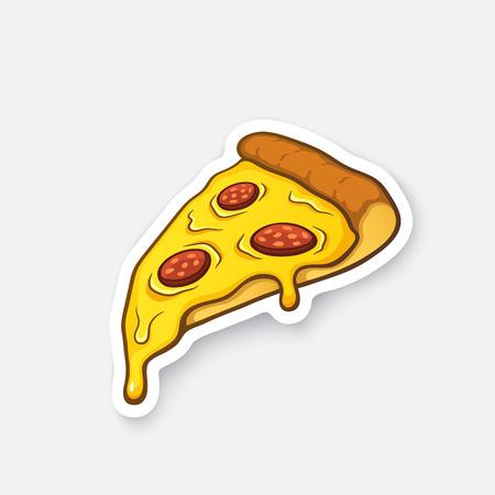 Vector illustratie. Plak van de pizza met gesmolten kaas en pepperoni. sticker van het beeldverhaal in comic stijl met contour. Decoratie voor wenskaarten, posters, patches, prints voor kleding, emblemen