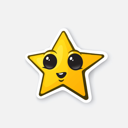 Vector illustration. Funny gold star with happy eyes. Winner sign. Favorite symbol. Cartoon sticker in comic style with contour. Decoration for greeting cards, posters, patches, prints for clothes, emblems Illustration