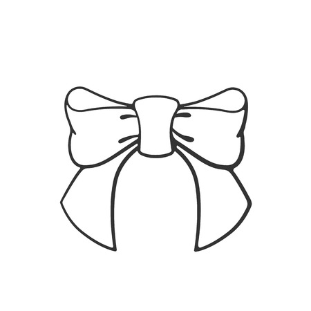 Vector illustration. Hand drawn doodle bow-knot of ribbon. Cartoon sketch. Decoration for greeting cards, posters, emblems