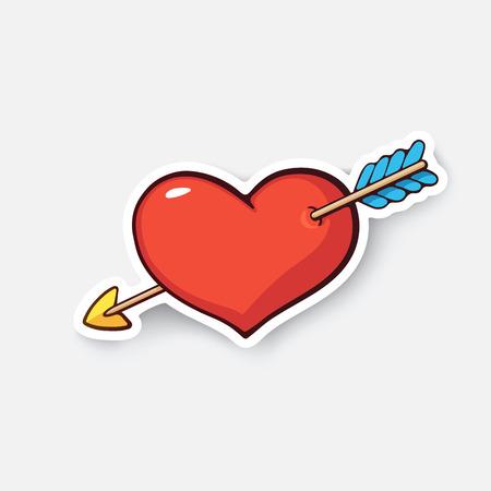 enamorados caricatura: Ilustración del vector. Corazón con flecha. Símbolo del día de San Valentín. te quiero. Etiqueta engomada de la historieta en estilo cómico con el contorno. Decoración para tarjetas de felicitación, carteles, parches, grabados para ropa, emblemas Vectores