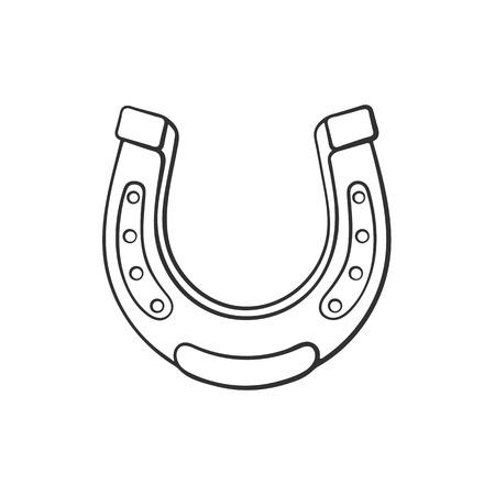 Vector Illustration Cartoon Sketch Of Horseshoe Good Luck Symbol
