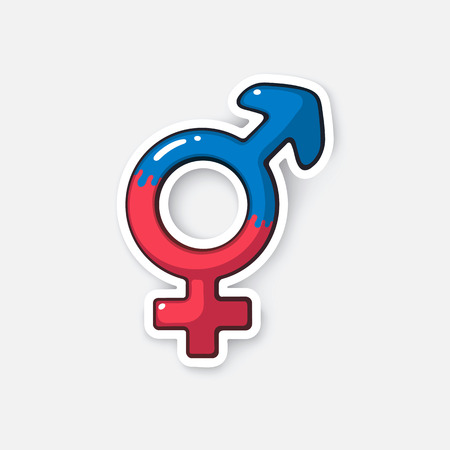 trans gender: Vector illustration. Transgender or hermaphrodite symbol. Gender pictogram. Cartoon sticker in comic style with contour. Decoration for greeting cards, posters, patches, prints for clothes, emblems