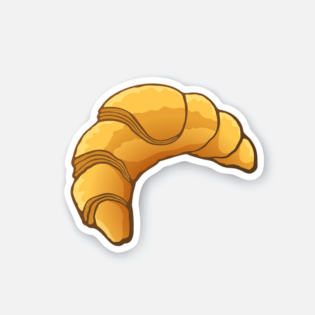 traditional french: Vector illustration. Traditional French breakfast croissant. Cartoon sticker in comics style with contour. Decoration for greeting cards, posters, patches, prints for clothes, emblems