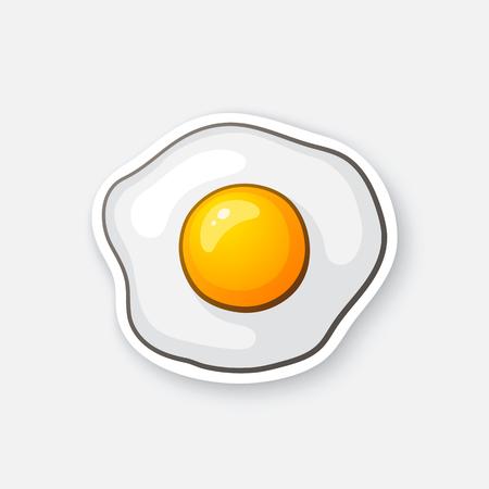 ベクトルの図。1 つの目玉。スクランブルエッグ。健康食品。漫画の輪郭コミック スタイルのステッカー。グリーティング カード、ポスター、パッ  イラスト・ベクター素材