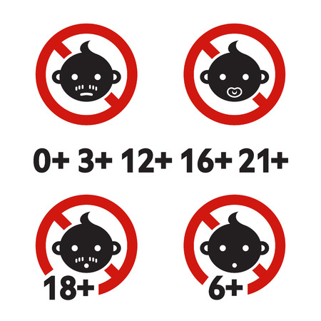 adult only: Vector illustration. Warning sign age limit. Adult only. Cartoon sticker. Decoration for posters, patches, prints for clothes, emblems
