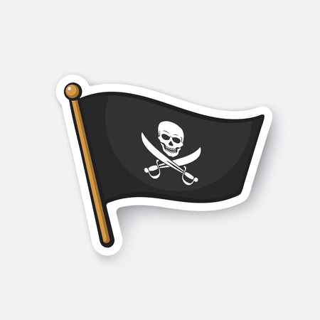 Vector illustration. Pirate flag with Jolly Roger and crossed sabers. Cartoon sticker in comics style with contour. Decoration for greeting cards, posters, patches, prints for clothes, emblems Illustration