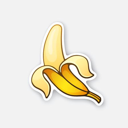 Vector illustration. Peeled banana. Healthy vegetarian food.
