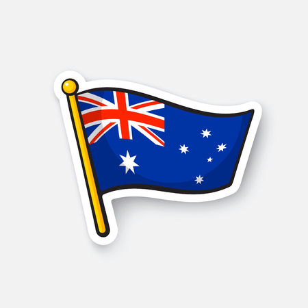 checkpoint: Vector illustration. Flag of Australia on flagstaff. Checkpoint symbol for travelers. Cartoon sticker with contour. Decoration for greeting cards, posters, patches, prints for clothes, emblems Illustration