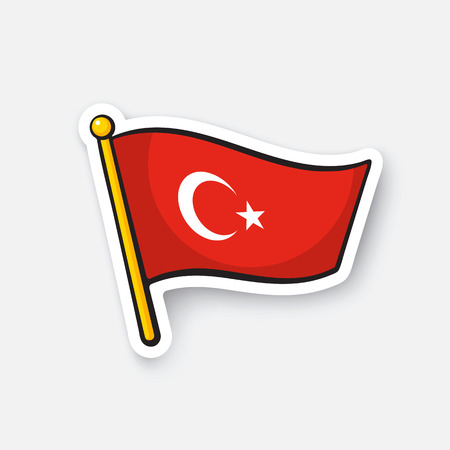Vector illustration. Flag of Turkey on flagstaff. Location symbol for travelers. Cartoon sticker with contour. Decoration for greeting cards, posters, patches, prints for clothes, emblems