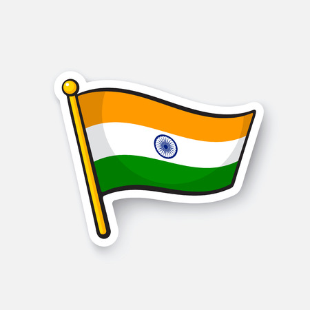 Vector illustration. Flag of India on flagstaff. Location symbol for travelers. Cartoon sticker with contour. Decoration for greeting cards, posters, patches, prints for clothes, emblems