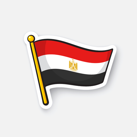 Vector illustration. Flag of Egypt on flagstaff. Location symbol for travelers. Cartoon sticker with contour. Decoration for greeting cards, posters, patches, prints for clothes, emblems Illustration
