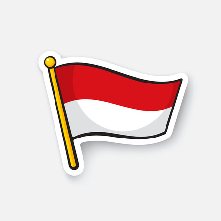 Vector illustration. Flag of Indonesia on flagstaff. Location symbol for travelers. Cartoon sticker with contour. Decoration for greeting cards, posters, patches, prints for clothes, emblems
