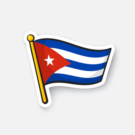 Vector illustration. Flag of Cuba on flagstaff. Location symbol for travelers. Cartoon sticker with contour. Decoration for greeting cards, posters, patches, prints for clothes, emblems
