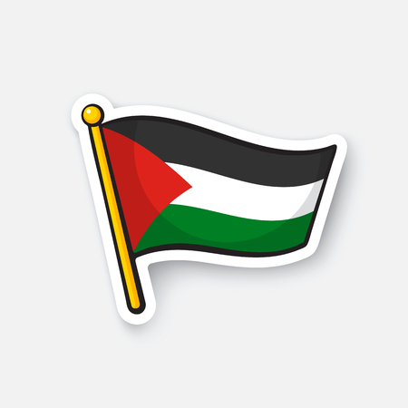 Vector illustration. Palestinian flag on flagstaff. Location symbol for travelers. Cartoon sticker with contour. Decoration for greeting cards, posters, patches, prints for clothes, emblems