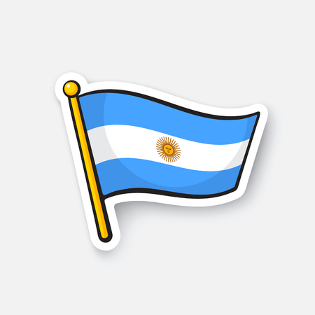 Vector illustration. Flag of Argentina on flagstaff. Location symbol for travelers. Cartoon sticker with contour. Decoration for greeting cards, posters, patches, prints for clothes, emblems
