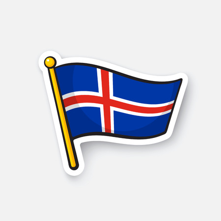 Vector illustration. Flag of Iceland on flagstaff. Location symbol for travelers. Cartoon sticker with contour. Decoration for greeting cards, posters, patches, prints for clothes, emblems