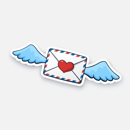 Vector illustration. Flying closed envelope with wax heart heart and wings. Not read incoming message. Cartoon sticker with contour. For greeting cards, posters, prints for clothes, emblems