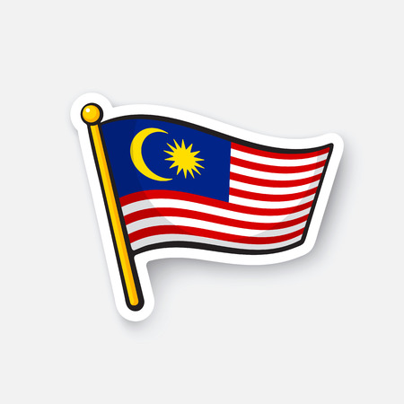 Vector illustration. Flag of Malaysia. Location symbol for travelers. Cartoon sticker with contour. Decoration for greeting cards, posters, patches, prints for clothes, emblems