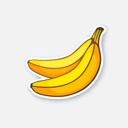 Vector illustration. Two bananas. Healthy vegetarian food. Cartoon sticker in comics style with contour. Decoration for greeting cards, posters, patches, prints for clothes, emblems