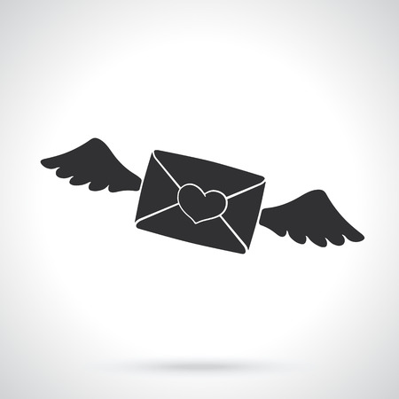 Vector illustration. Silhouette of flying closed envelope with wax heart and wings. Template or pattern. Decoration for greeting cards, wallpapers, emblems Illustration