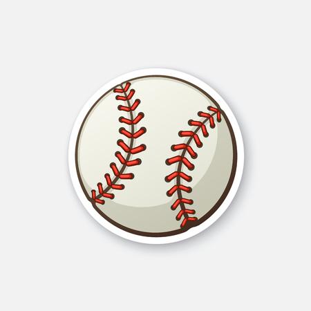 ベクトルの図。革製野球ボール。漫画の輪郭コミック スタイルのステッカー。グリーティング カード、ポスター、パッチのための装飾の服のエンブ