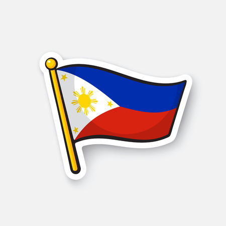 Flag of the Philippines. Location symbol for travelers. Cartoon sticker with contour. Decoration for greeting cards, posters, patches, prints for clothes, emblems