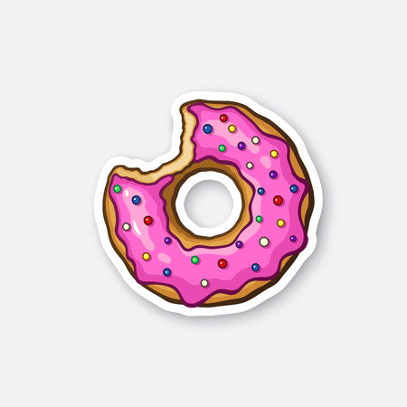 junkfood: Vector illustration. Bitten donut with pink glaze and colored powder. Sticker in cartoon style with contour. Decoration for greeting cards, patches, prints for clothes, badges, posters, emblems