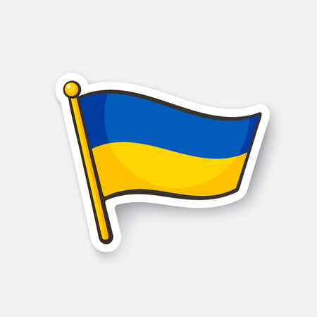 Vector illustration. Flag of Ukraine on flagstaff. Checkpoint symbol for travelers. Cartoon sticker with contour. Decoration for greeting cards, posters, patches, prints for clothes, emblems