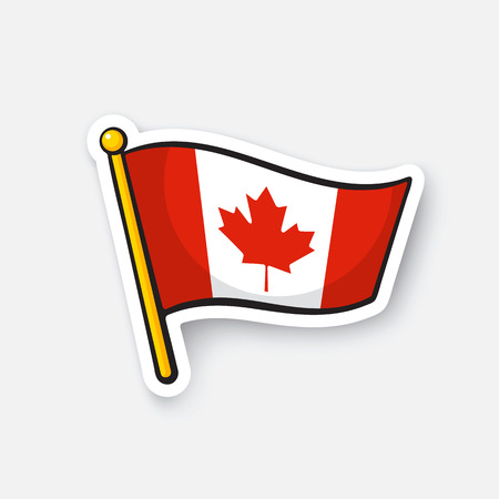 Vector illustration. Flag of Canada on flagstaff. Checkpoint symbol for travelers. Cartoon sticker with contour. Decoration for greeting cards, posters, patches, prints for clothes, emblems