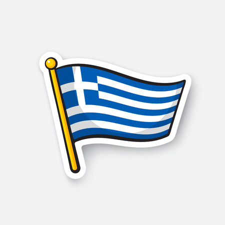 Vector illustration. Flag of Greece on flagstaff. Location symbol for travelers. Cartoon sticker with contour. Decoration for greeting cards, posters, patches, prints for clothes, emblems
