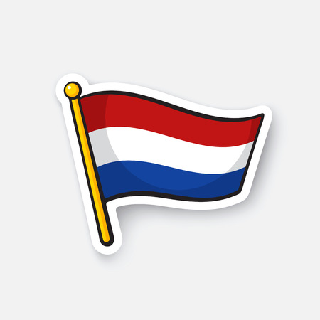 Vector illustration. Flag of the Netherlands on flagstaff. Location symbol for travelers. Cartoon sticker with contour. Decoration for greeting cards, posters, patches, prints for clothes, emblems