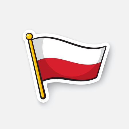 Vector illustration. Flag of Poland on flagstaff. Location symbol for travelers. Cartoon sticker with contour. Decoration for greeting cards, posters, patches, prints for clothes, emblems Illustration