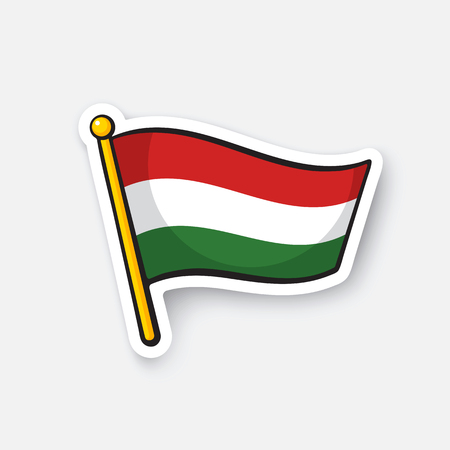 Vector illustration. Flag of Hungary on flagstaff. Location symbol for travelers. Cartoon sticker with contour. Decoration for greeting cards, posters, patches, prints for clothes, emblems Illustration